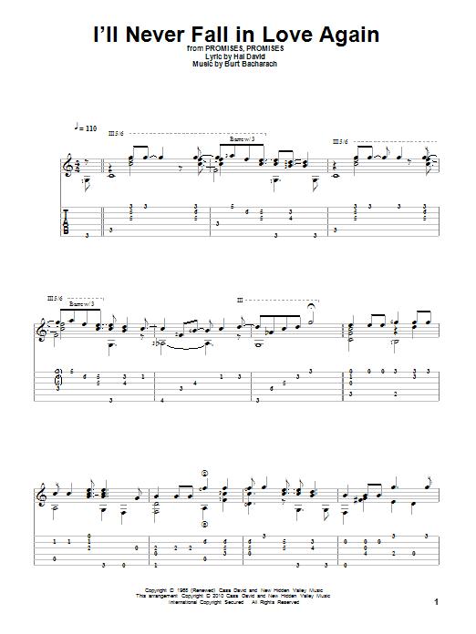Tablature guitare I'll Never Fall In Love Again de Bacharach & David - Tablature Guitare