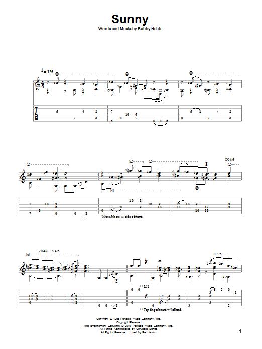 Tablature guitare Sunny de Bobby Hebb - Tablature Guitare