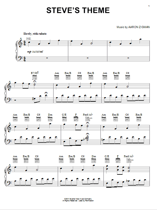 Partition piano Steve's Theme de Aaron Zigman - Piano Solo