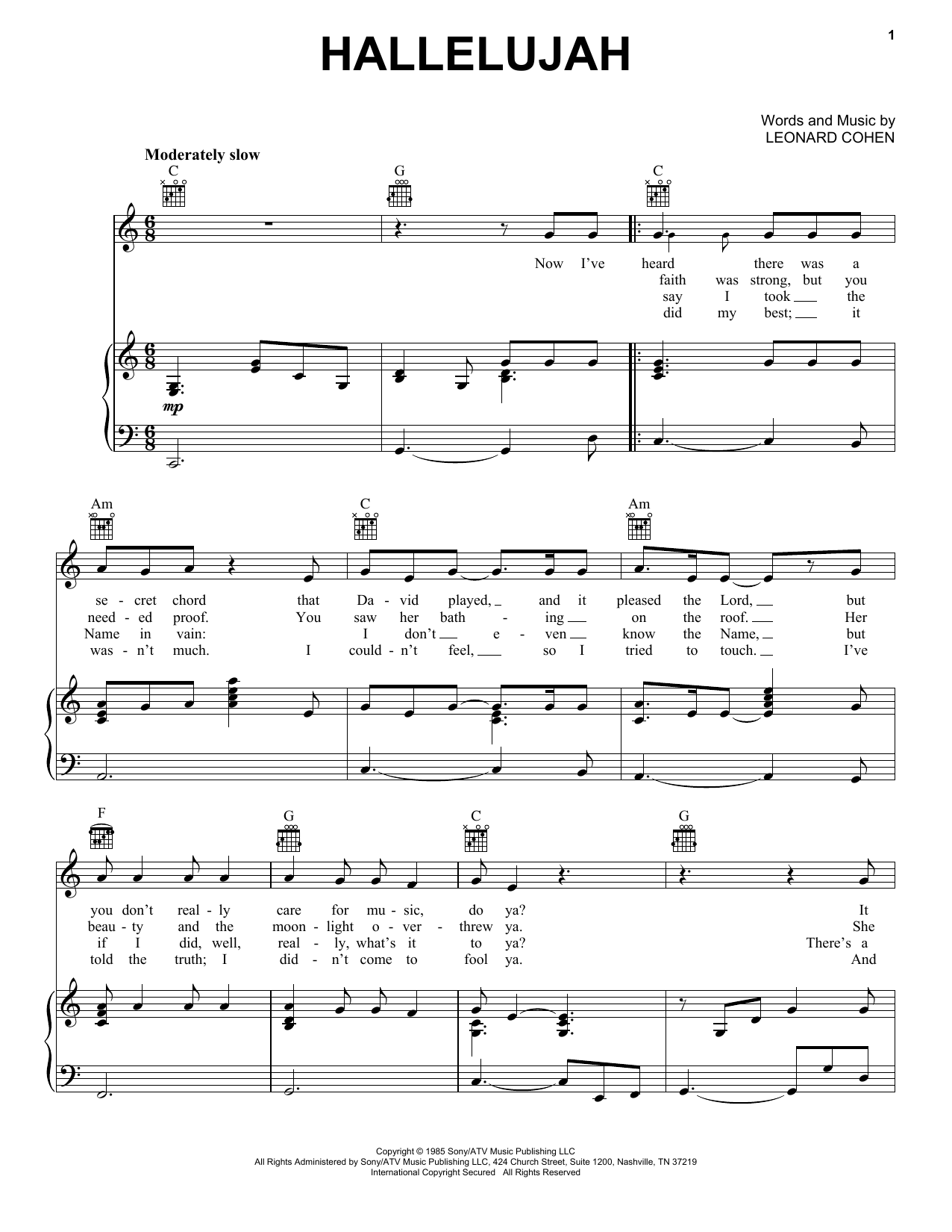 Hallelujah : Sheet Music Direct