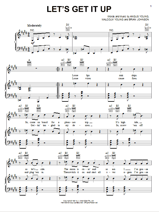 Let's Get It Up sheet music for voice, piano or guitar by Malcolm Young