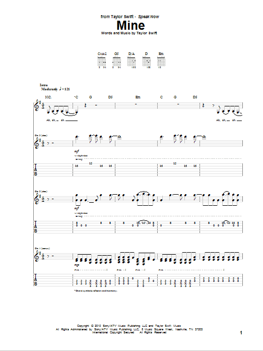 Tablature guitare Mine de Taylor Swift - Tablature Guitare