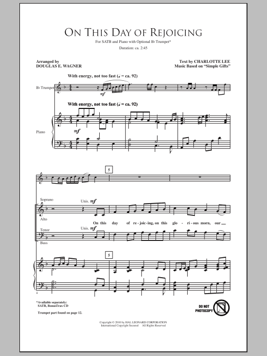 This Day Of Rejoicing sheet music for choir and piano (SATB) by Douglas E. Wagner