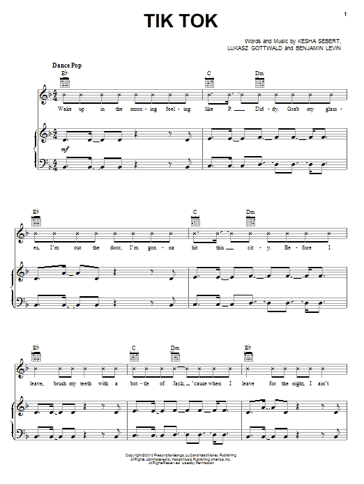 Tik Tok sheet music for voice, piano or guitar by Lukasz Gottwald
