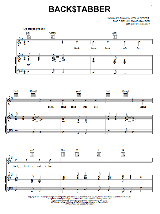 Back$tabber sheet music for voice, piano or guitar by Marc Nelkin