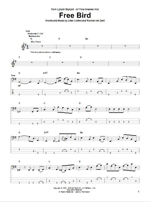 Tablature guitare Free Bird de Lynyrd Skynyrd - Tablature Basse
