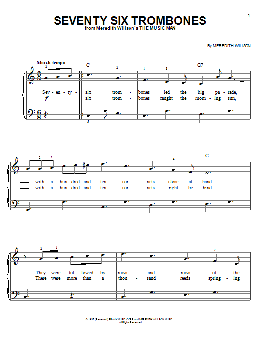 Music Man - Seventy-six Trombones Lyrics | MetroLyrics