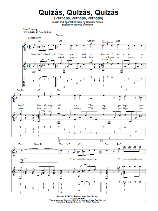 Quizas, Quizas, Quizas (Perhaps, Perhaps, Perhaps) sheet music for guitar solo by Joe Davis