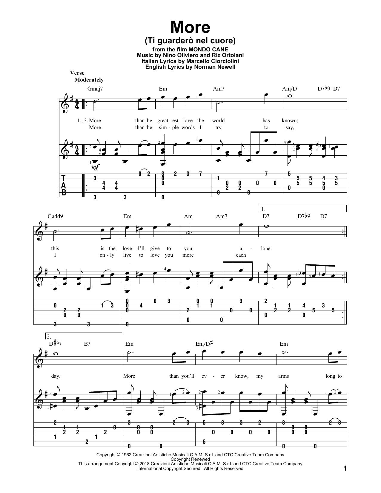 Tablature guitare More (Ti Guardero Nel Cuore) de Marcello Ciorciolini - Tablature Guitare