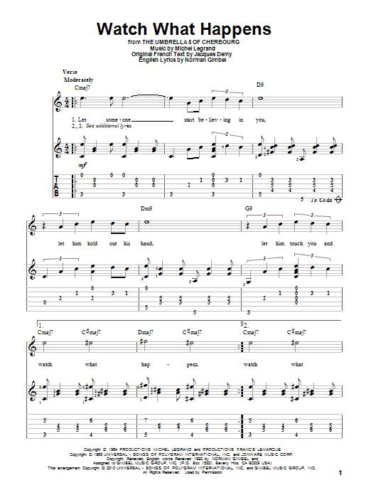 Tablature guitare Watch What Happens de Michel Legrand - Tablature Guitare