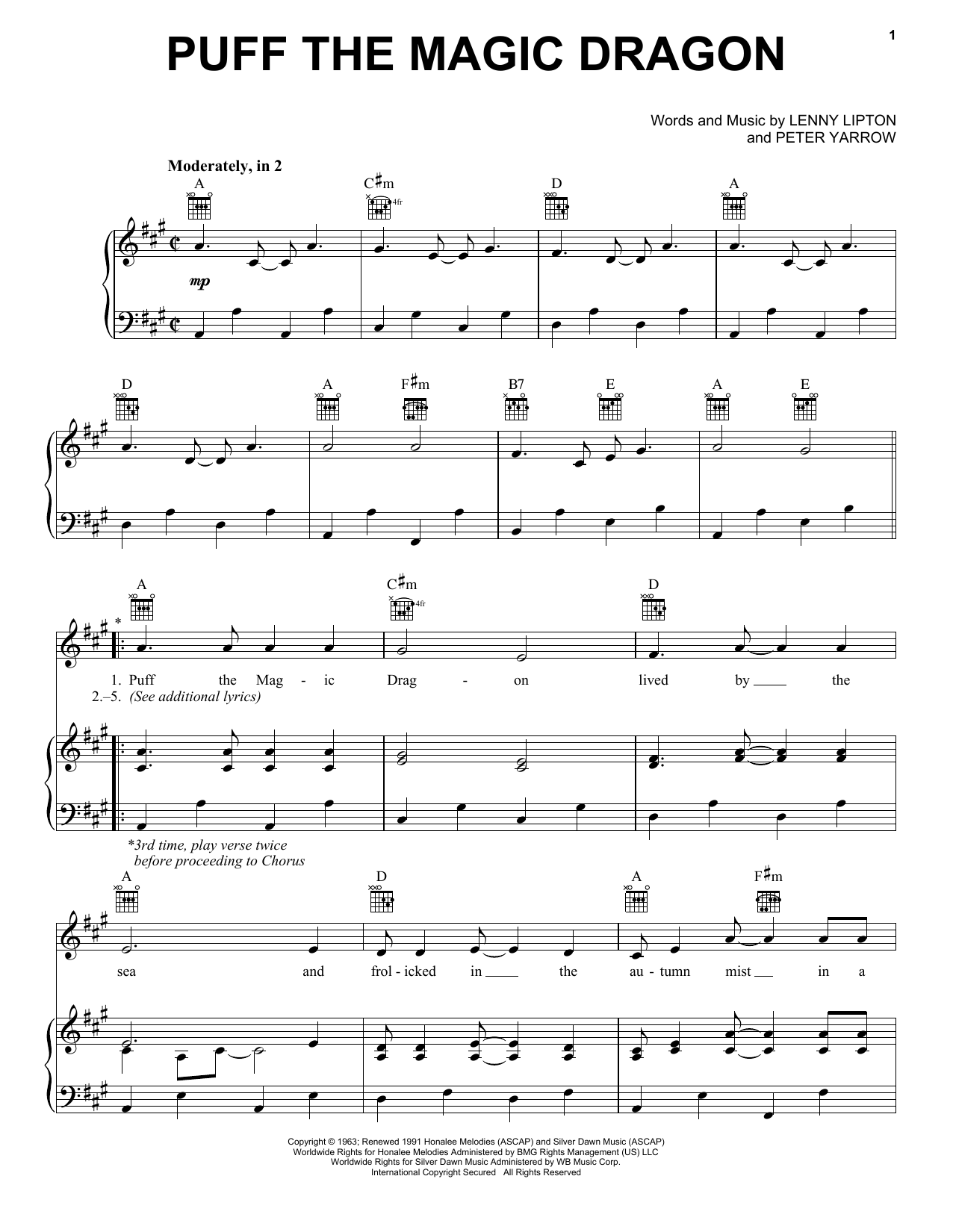 Puff The Magic Dragon sheet music for voice, piano or guitar by Peter Yarrow