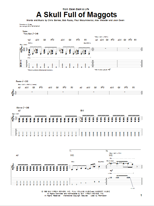 Tablature guitare A Skull Full Of Maggots de Cannibal Corpse - Tablature Guitare