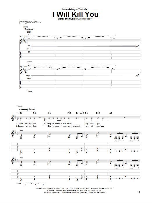 Tablature guitare I Will Kill You de Cannibal Corpse - Tablature Guitare