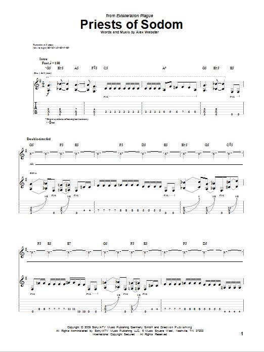 Tablature guitare Priests Of Sodom de Cannibal Corpse - Tablature Guitare