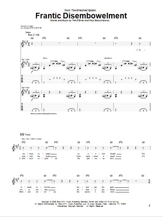 Tablature guitare Frantic Disembowelment de Cannibal Corpse - Tablature Guitare