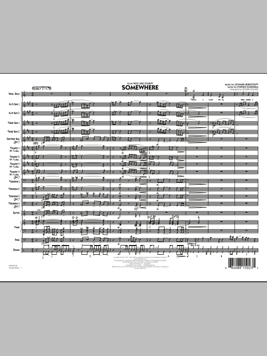 Somewhere (from West Side Story) (COMPLETE) sheet music for jazz band by Leonard Bernstein