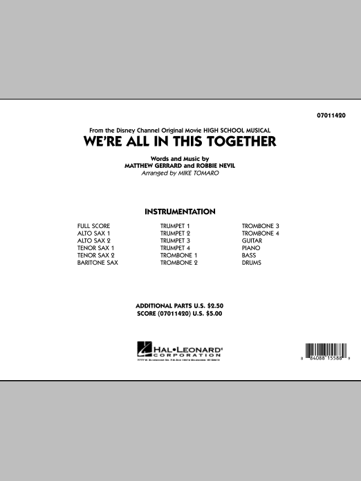 We're All In This Together (from High School Musical) (COMPLETE) sheet music for jazz band by Mike Tomaro