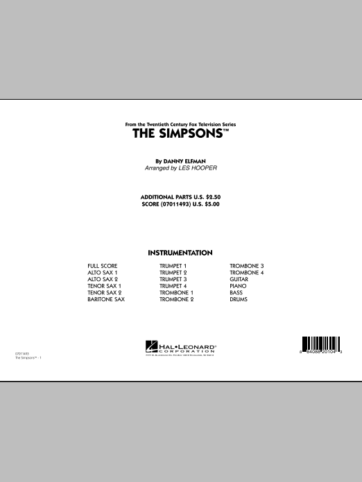 The Simpsons (COMPLETE) sheet music for jazz band by Les Hooper