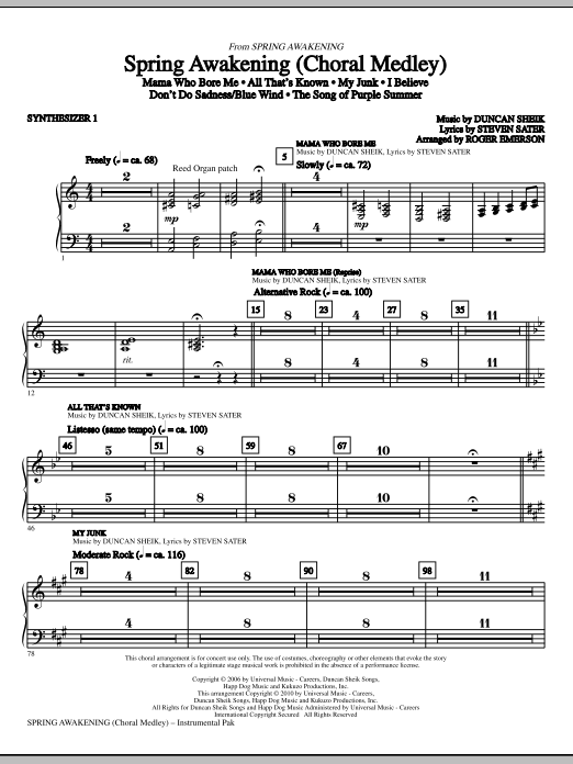 Spring Awakening (Choral Medley) (complete set of parts) sheet music for orchestra/band (chamber ensemble) by Roger Emerson