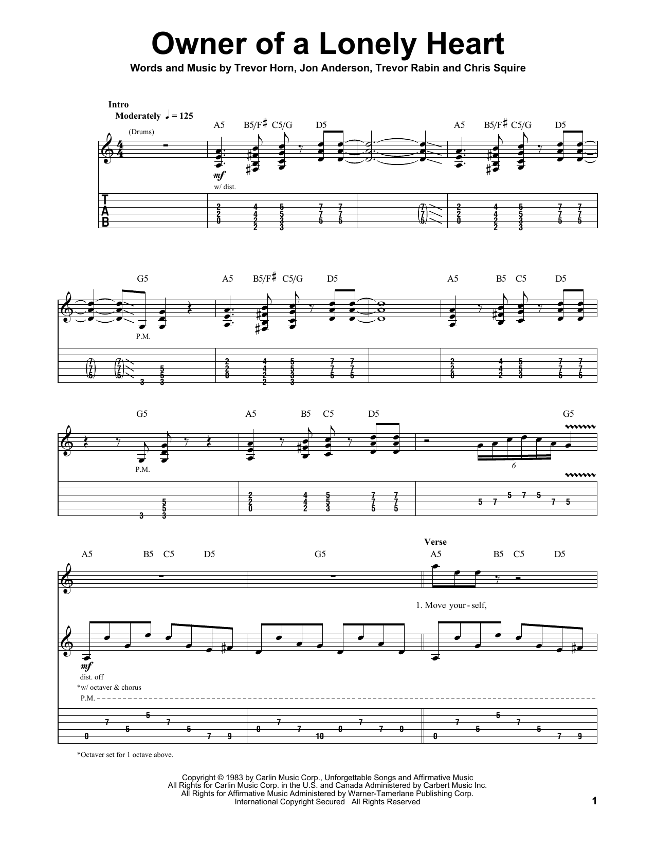 Tablature guitare Owner Of A Lonely Heart de Yes - Tablature Guitare