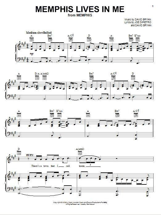 Partition piano Memphis Lives In Me de Joe DiPietro - Piano Voix Guitare (Mélodie Main Droite)