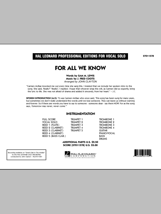 For All We Know (COMPLETE) sheet music for jazz band by John Clayton