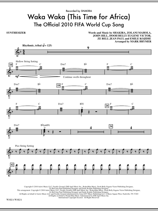Waka Waka (This Time For Africa) - The Official 2010 FIFA World Cup Song (complete set of parts) sheet music for orchestra/band (Rhythm) by Mark Brymer