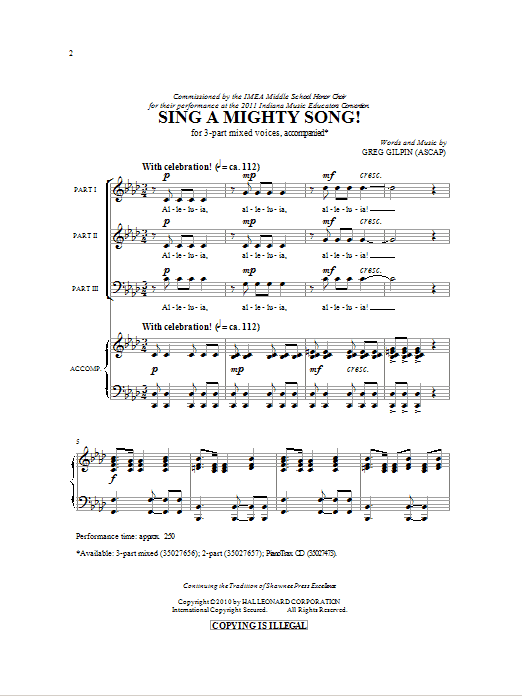 Partition chorale Sing A Mighty Song! de Greg Gilpin - 3 voix mixtes