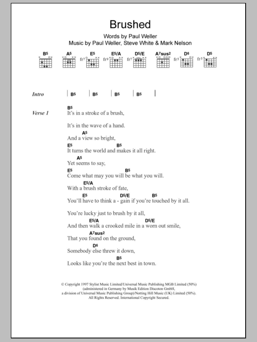 Brushed sheet music for guitar solo (chords, lyrics, melody) by Steve White