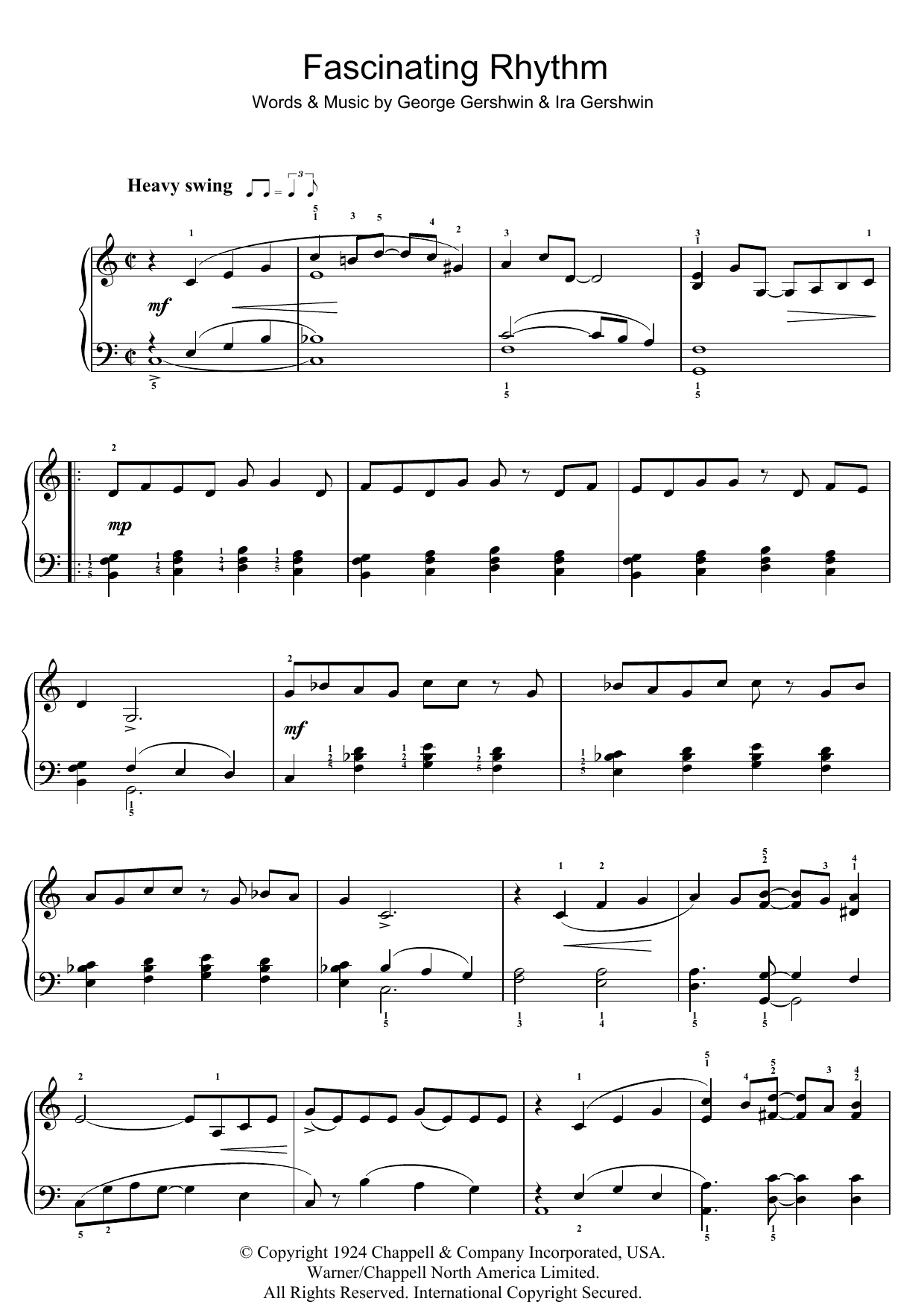 Fascinating Rhythm sheet music for piano solo (chords) by Ira Gershwin