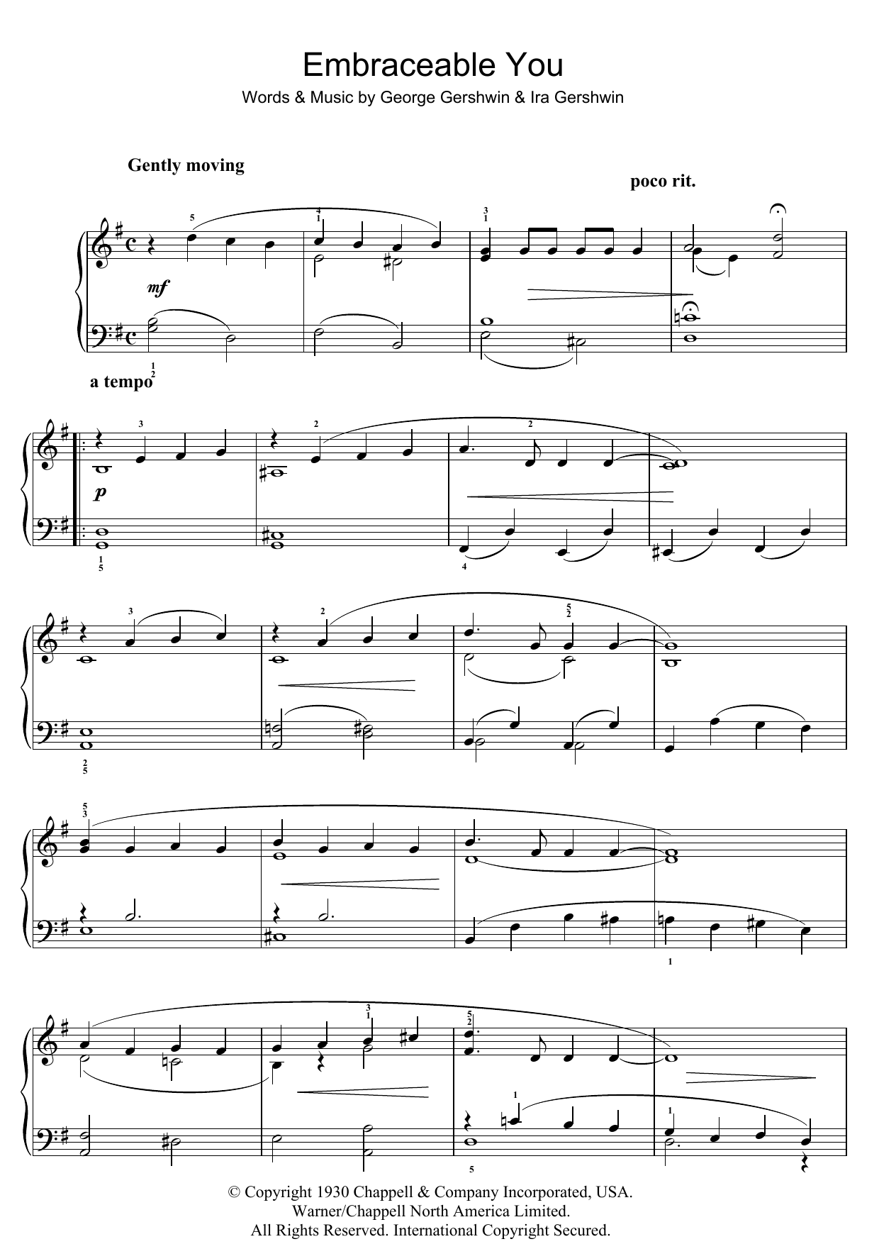 Embraceable You sheet music for piano solo (chords) by Ira Gershwin