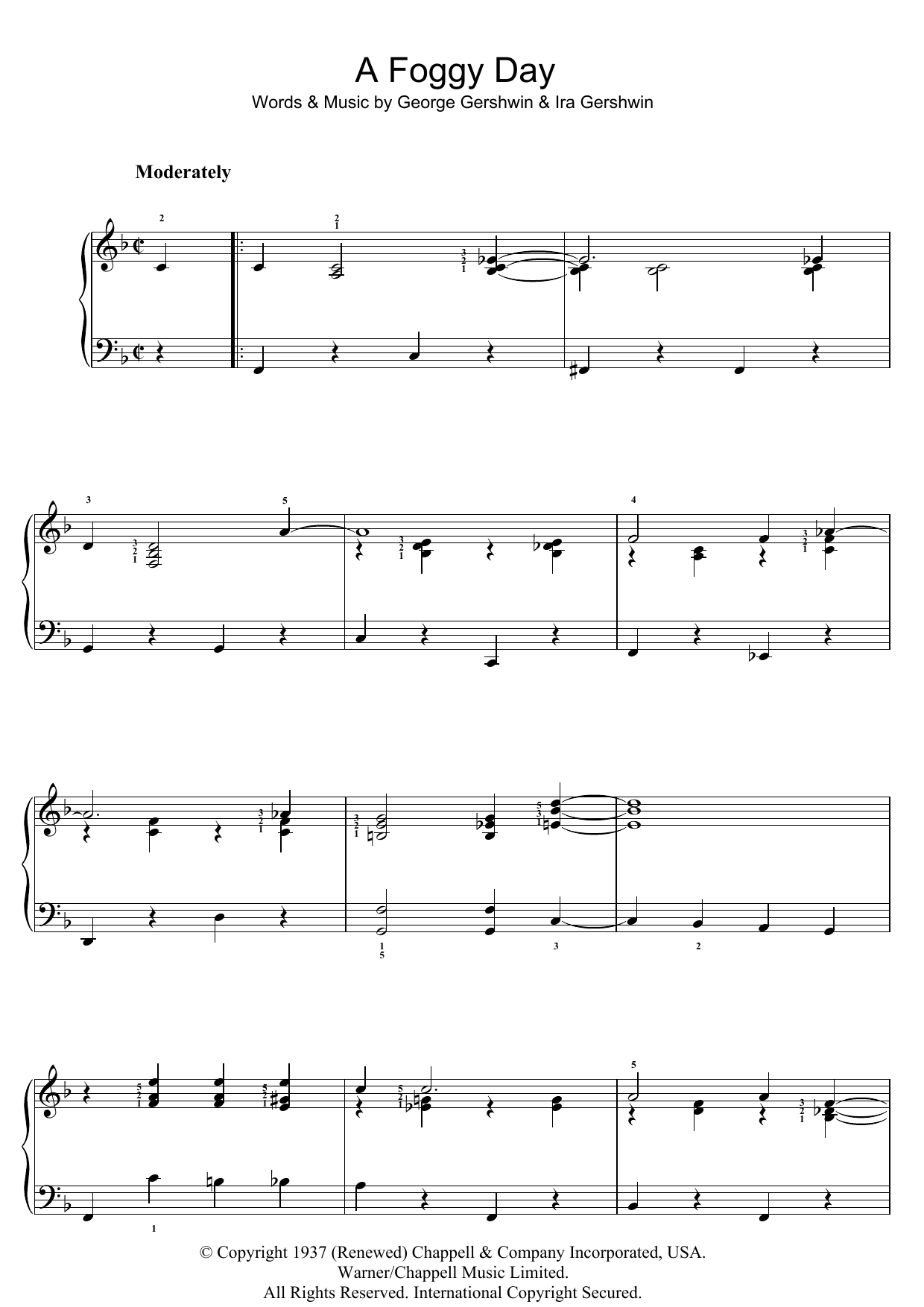 A Foggy Day (In London Town) sheet music for piano solo (chords) by Ira Gershwin