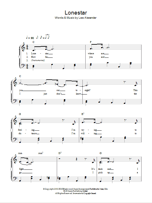 Lonestar sheet music for piano solo (chords) by Lee Alexander