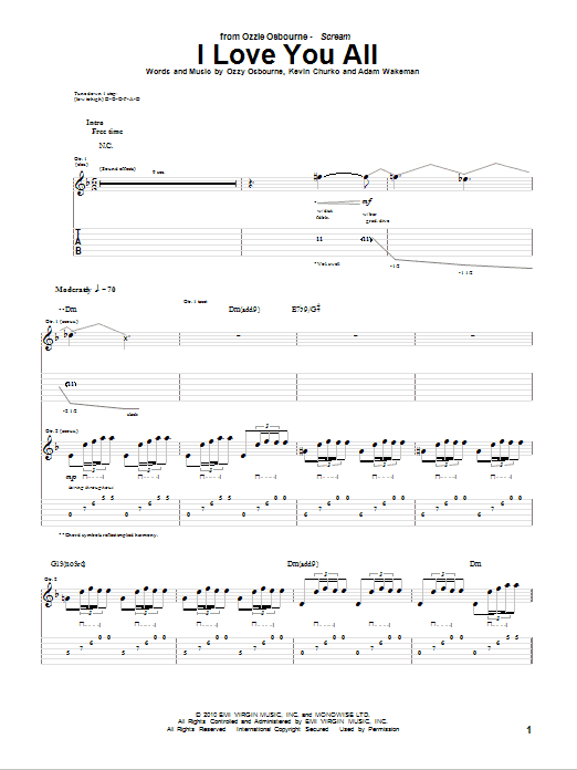 Tablature guitare I Love You All de Ozzy Osbourne - Tablature Guitare