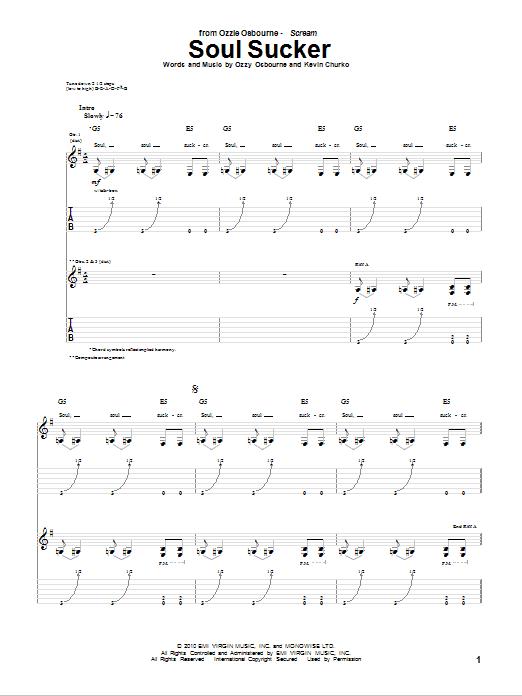 Tablature guitare Soul Sucker de Ozzy Osbourne - Tablature Guitare
