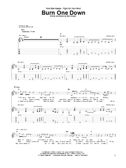 Tablature guitare Burn One Down de Ben Harper - Tablature Guitare