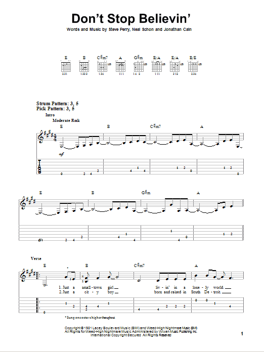 Don't Stop Believin' sheet music for guitar solo (easy tablature) by Steve Perry
