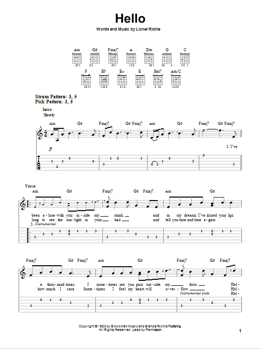 Tablature guitare Hello de Lionel Richie - Tablature guitare facile