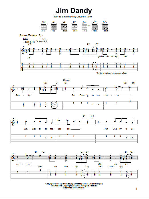 Tablature guitare Jim Dandy de Black Oak Arkansas - Tablature guitare facile