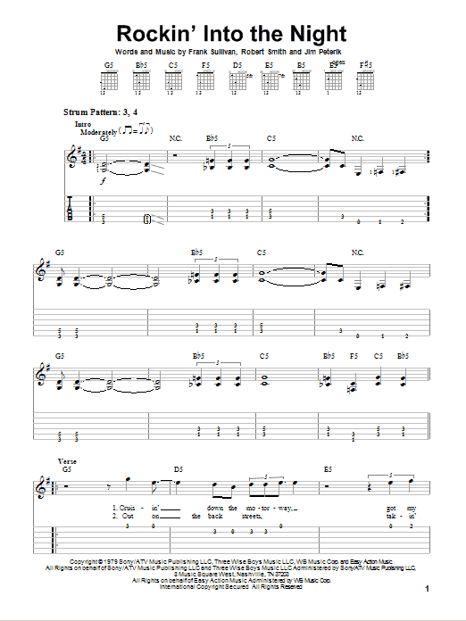 Rockin' Into The Night sheet music for guitar solo (easy tablature) by Robert Smith