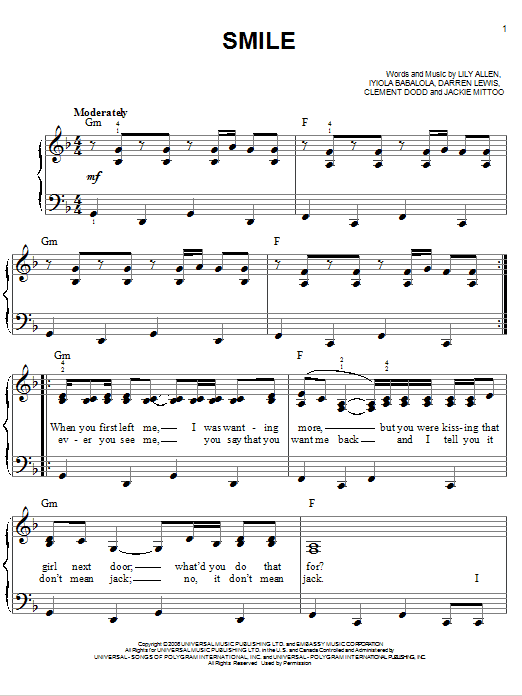 Smile sheet music by L... Lily Allen Chords