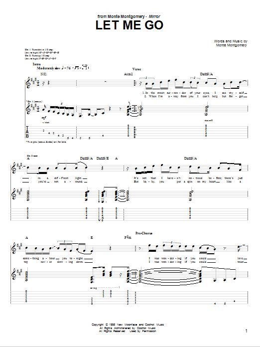 Tablature guitare Let Me Go de Monte Montgomery - Tablature Guitare