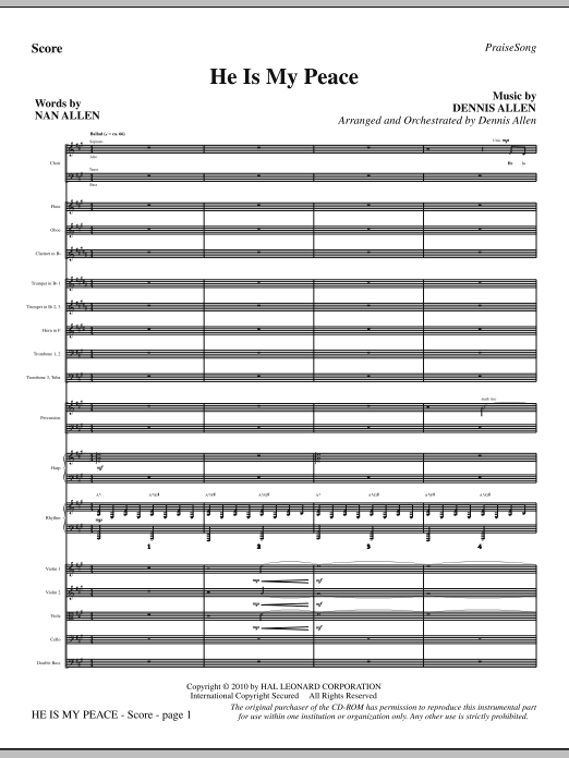 He Is My Peace sheet music for orchestra/band (full score) by Nan Allen