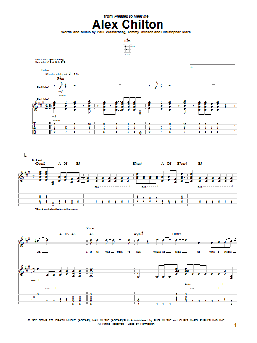 Tablature guitare Alex Chilton de The Replacements - Tablature Guitare