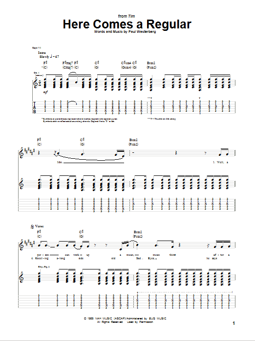 Tablature guitare Here Comes A Regular de The Replacements - Tablature Guitare
