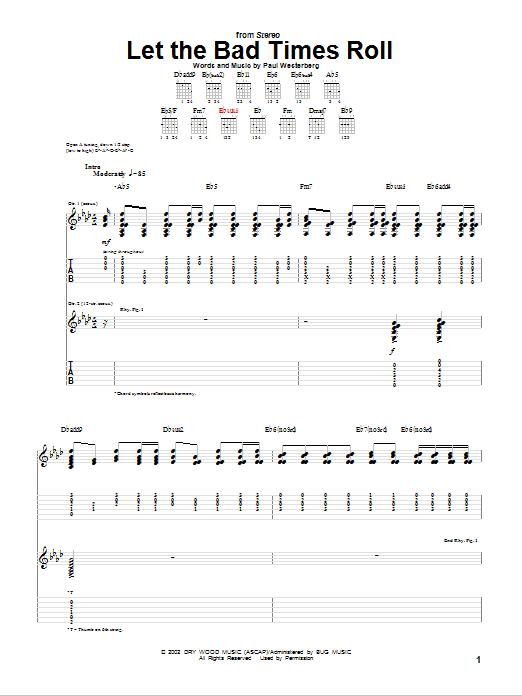 Tablature guitare Let The Bad Times Roll de Paul Westerberg - Tablature Guitare