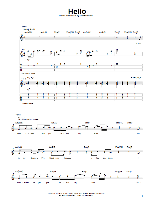 Hello Guitar Tab by Lionel Richie (Guitar Tab u2013 76707)