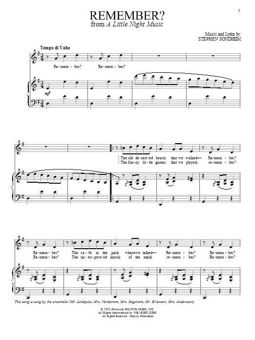 Partition piano Remember de Stephen Sondheim - Piano Voix