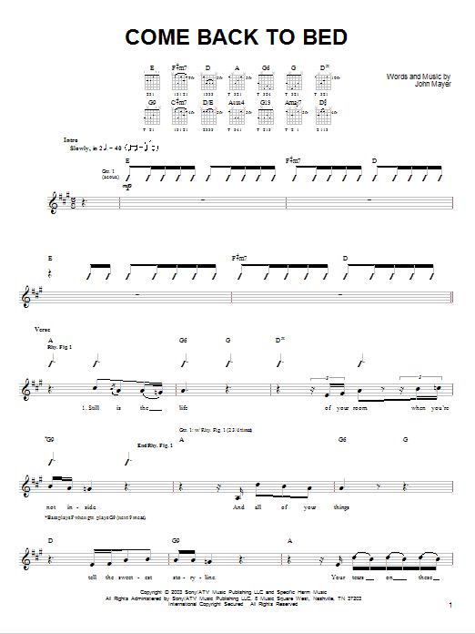 Tablature guitare Come Back To Bed de John Mayer - Tablature guitare facile