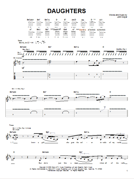 Tablature guitare Daughters de John Mayer - Tablature guitare facile